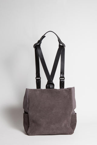 Shop Emerging Conscious Avant-garde Designer Brand MDK Miranda Kaloudis Taupe Suede and Black Leather Transformable NEO Backpack at Erebus