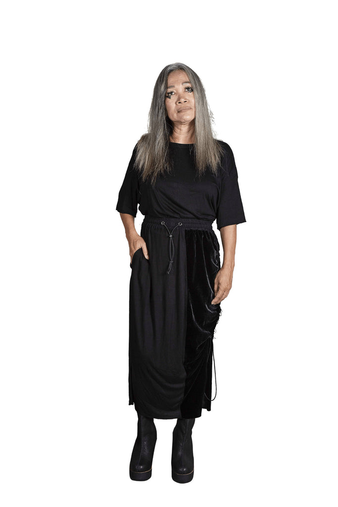 Shop Emerging Slow Fashion Genderless Avant-garde Designer Mark Baigent Rhiannon Collection Black Nala Skirt at Erebus