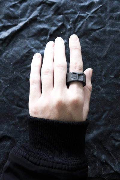 Shop Emerging Avant Garde Jewellery Brand Surface/Cast Black Concrete Negative Compression Medium Ring at Erebus