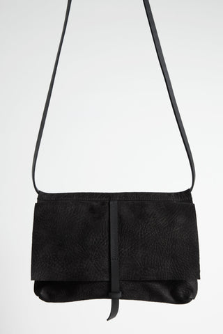 Shop Emerging Conscious Avant-garde Designer Brand MDK Miranda Kaloudis Black Nubuck Leather Orion Messenger Bag at Erebus