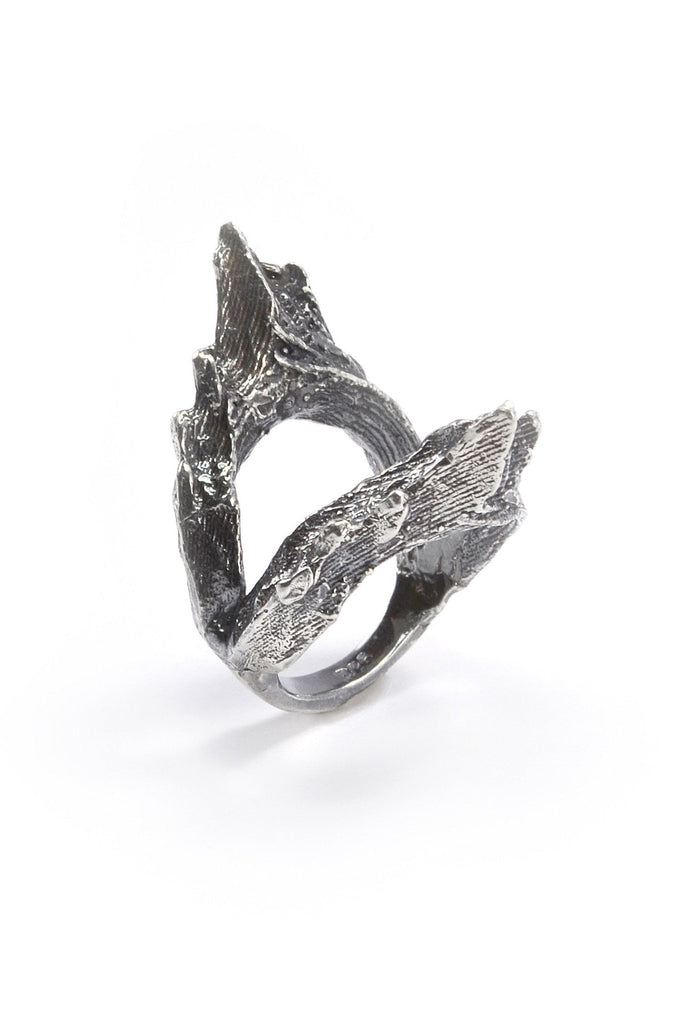 Shop emerging ethical fashion jewellery brand Eilisain Ondine Double Ring in Silver - Erebus - 1