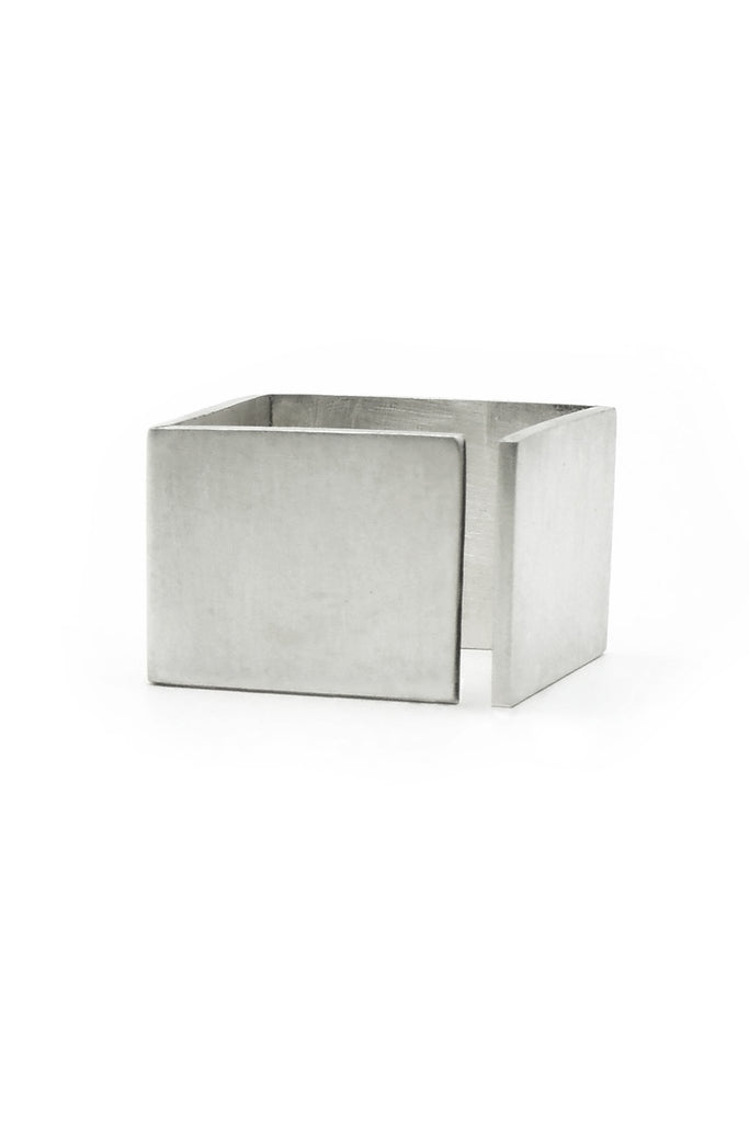 Shop Emerging Structural Jewellery Brand Conservation of Matter Matte Silver Open Cube Ring at Erebus