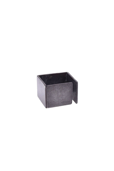 Shop Emerging Structural Jewellery Brand Conservation of Matter Blackened Silver Open Cube Ring at Erebus