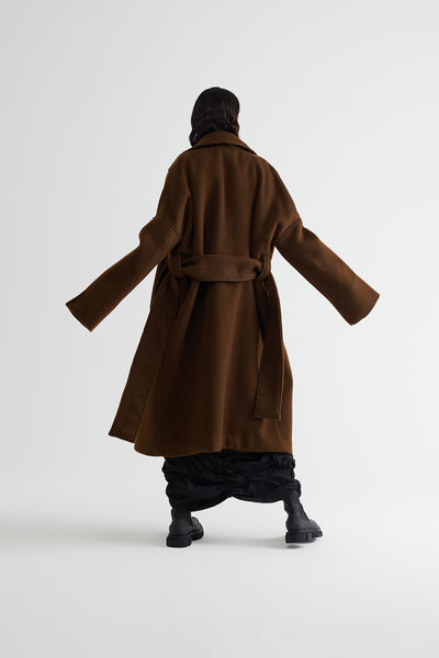 Conscious Womenswear Brand Symetria Tobacco Wool Originate Coat at Erebus
