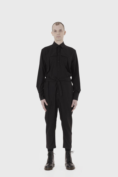 Shop Emerging Slow Fashion Avant-garde Menswear Designer Marco Scaiano Black Hjalmar Overalls at Erebus