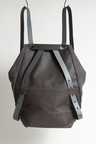 Shop Emerging Conscious Avant-garde Designer Brand MDK Miranda Kaloudis Dark Taupe Transformable Pan 6 in 1 Bag at Erebus