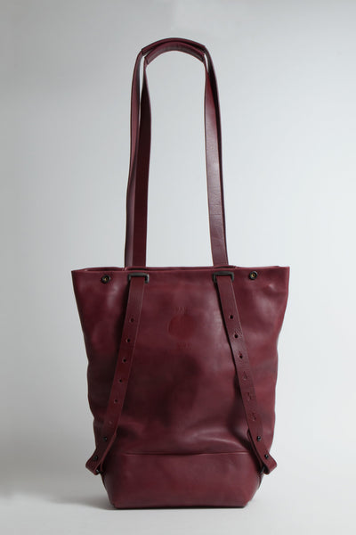 Shop Emerging Conscious Avant-garde Designer Brand MDK Miranda Kaloudis Red Leather Transformable Pan 6 in 1 Bag at Erebus
