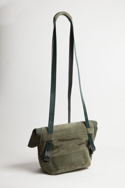 Shop Emerging Conscious Avant-garde Designer Brand MDK Miranda Kaloudis Green Suede Transformable Pan 6 in 1 Bag at Erebus