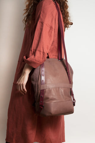 Shop Emerging Conscious Avant-garde Designer Brand MDK Miranda Kaloudis Terra Cotta Transformable Pan 6 in 1 Bag at Erebus