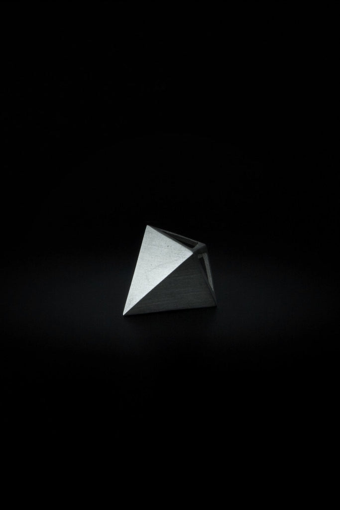 Shop emerging slow fashion unisex jewellery brand Møsaïs Silver Pyramid Pendant - Erebus