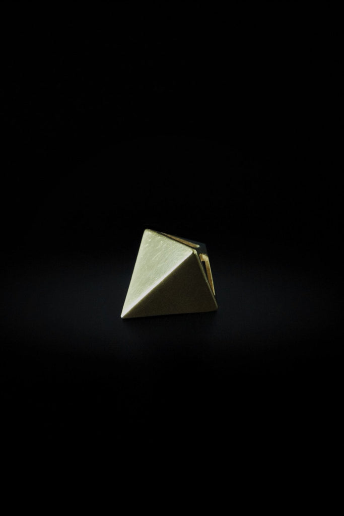 Shop emerging slow fashion unisex jewellery brand Møsaïs Gold Pyramid Pendant - Erebus