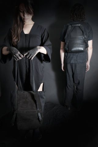 Shop Emerging Conscious Avant-garde Designer Brand MDK Miranda Kaloudis Black Suede and Waxed Cotton Canvas Transformable Pan 6 in 1 Bag at Erebus