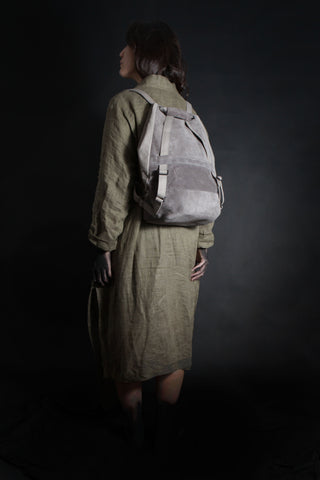 Shop Emerging Conscious Avant-garde Designer Brand MDK Miranda Kaloudis Grey Suede and Waxed Cotton Canvas Transformable Pan 6 in 1 Bag at Erebus