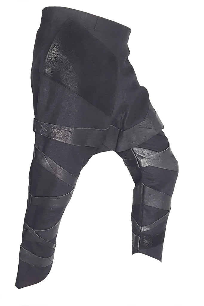 Shop Emerging Conscious Avant-garde Gender-free Brand Supramorphous Black Low Crotch V02 Pants at Erebus