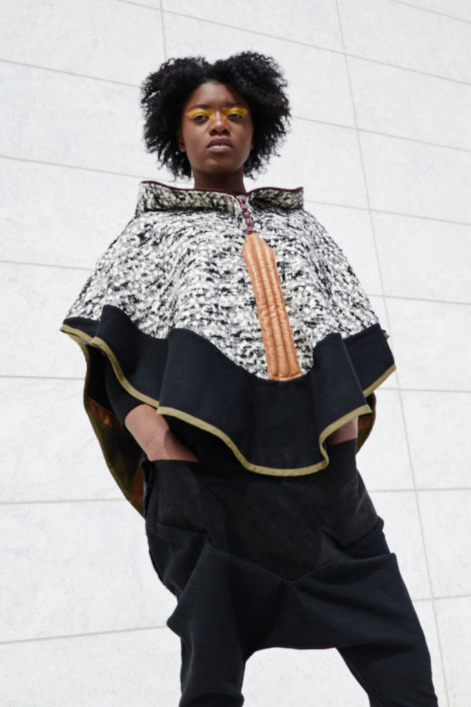 Shop Emerging Conscious Avant-garde Gender-free Brand Supramorphous Black and White Wool Ponchis Poncho at Erebus
