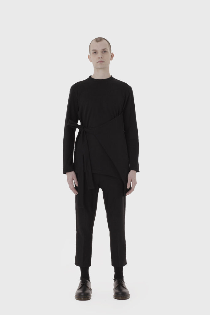 Shop Emerging Slow Fashion Avant-garde Menswear Designer Marco Scaiano Black Yoan Wrap Long Sleeve Pullover at Erebus