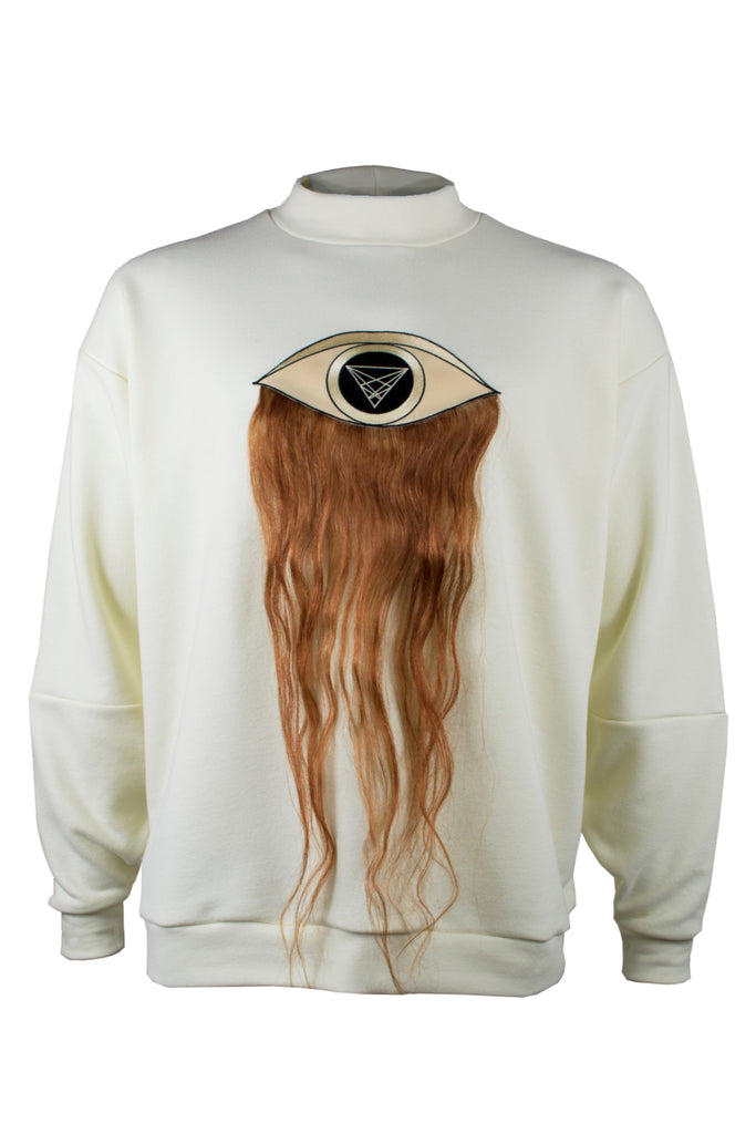 Shop Emerging Slow Fashion Avant-garde Menswear Designer Marco Scaiano Cream Cotton With Human Hair Thor-eye Pullover at Erebus