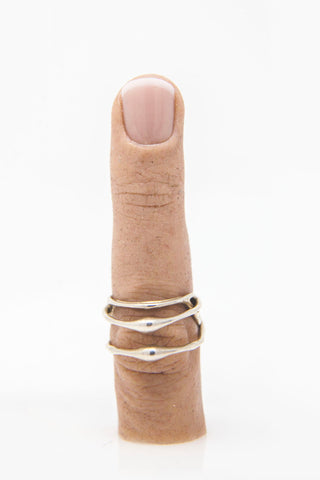 Shop Emerging Conceptual Jewellery Brand v_master Silver Pulp Triple Band Ring at Erebus