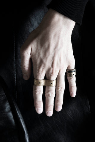 Shop Emerging Slow Fashion Avant-garde Jewellery Brand Surface Cast Blackened Bronze Puncture Double Ring at Erebus