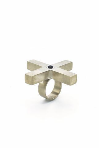 Shop Emerging Avant-garde Dark Jewellery Designer Irina Kalintzaki For The High Priestess Collection Sterling Silver and Glass Eye Tau Cross Ring at Erebus