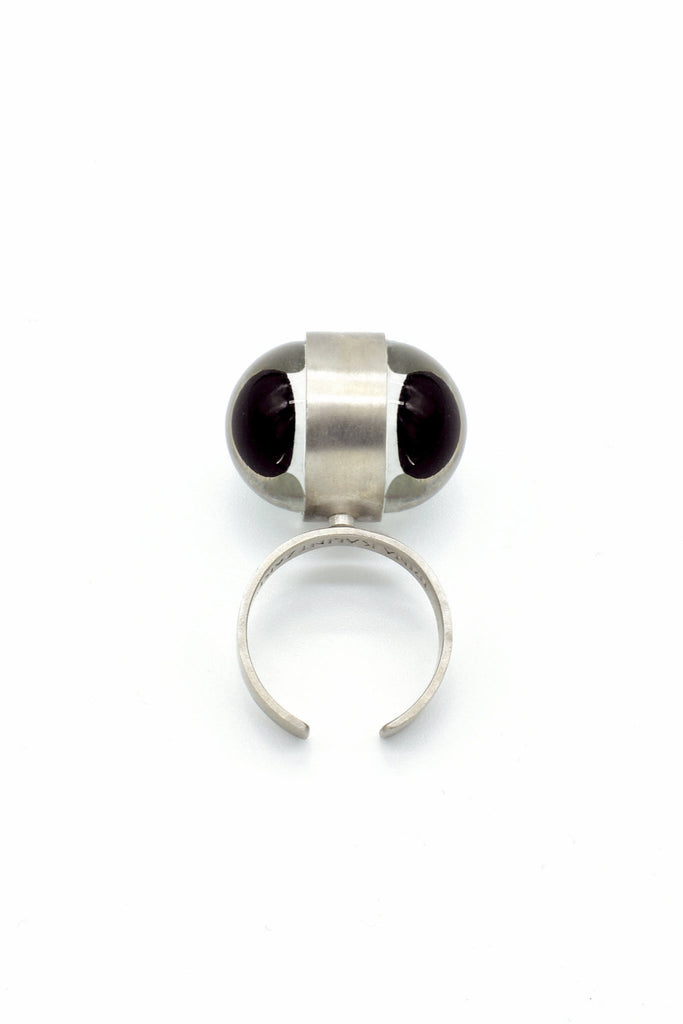 Shop Emerging Avant-garde Dark Jewellery Designer Irina Kalintzaki For The High Priestess Collection Sterling Silver and Glass Eye Popess Ring at Erebus