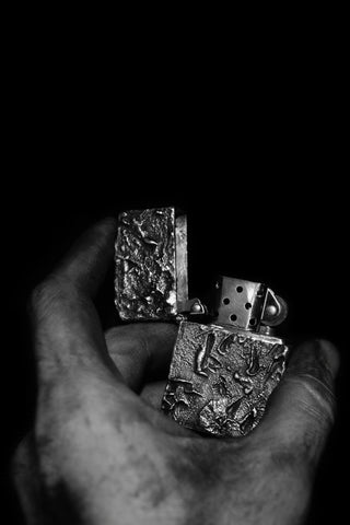 Shop Emerging Conscious Avant-garde Jewellery Designer David Gaboriau Oxidised Sterling Silver Raw Zippo Lighter Holder at Erebus