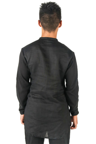 Shop Fair Fashion Genderless Avant-garde Basics Brand PULSE by Mark Baigent Collection Black Linen Renal Shirt at Erebus
