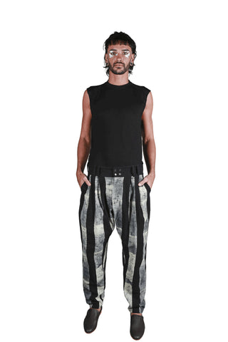 Shop Emerging Slow Fashion Genderless Avant-garde Designer Mark Baigent Rhiannon Collection Cotton Batik Rhiannon Pants at Erebus