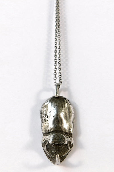 Shop Emerging Slow Fashion Conscious Designer Stacy Hopkins Jewelry Silver Rhinoceros Beetle Pendant at Erebus