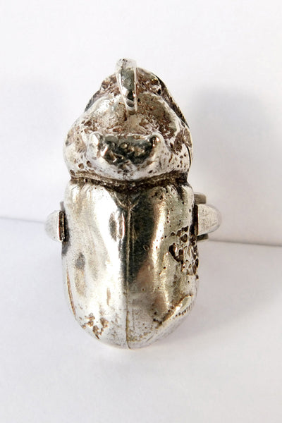 Shop Emerging Slow Fashion Conscious Designer Stacy Hopkins Jewelry Silver Rhinoceros Beetle Ring at Erebus