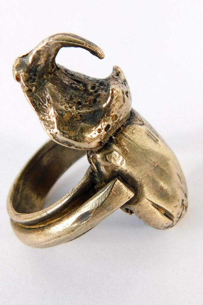 Shop Emerging Slow Fashion Conscious Designer Stacy Hopkins Jewelry Bronze Rhinoceros Beetle Ring at Erebus