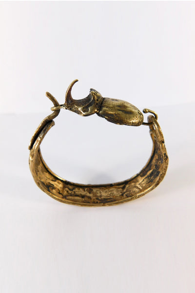 Shop Emerging Slow Fashion Conscious Designer Stacy Hopkins Jewelry Bronze Rhinoceros Beetle Bracelet at Erebus