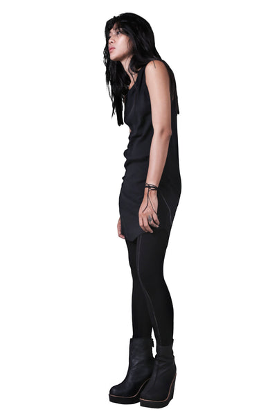 Shop Emerging Slow Fashion Agender Avant-garde Designer Mark Baigent Black Rib Tank Top at Erebus