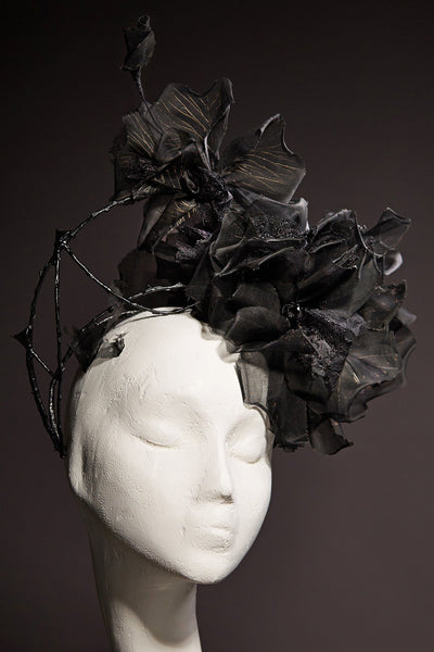 Shop emerging slow fashion milliner Valeria Agostini black Rose Halo - Erebus