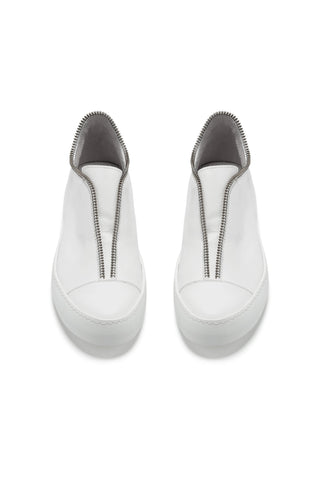 Shop Emerging Avant-garde Accessory Brand South Lane White AVANT Raw Leather Low Top Sneakers at Erebus