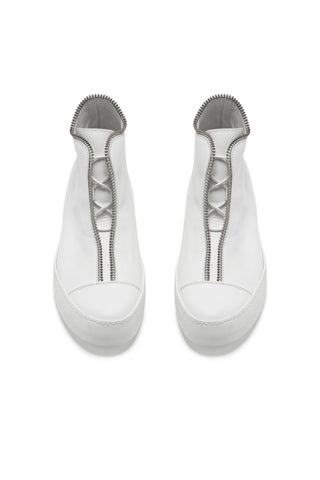 Shop Emerging Avant-garde Accessory Brand South Lane White AVANT Raw Leather High Top Sneakers at Erebus