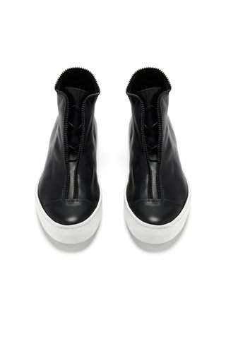 Shop Emerging Avant-garde Accessory Brand South Lane Black on White AVANT Raw Leather High Top Sneakers at Erebus