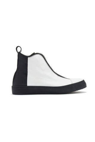Shop Emerging Avant-garde Accessory Brand South Lane Half Black AVANT Raw Leather High Top Sneakers at Erebus