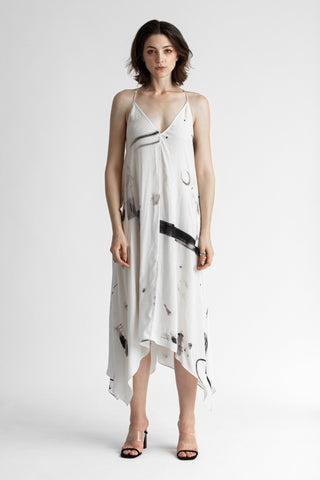 Shop Emerging Conscious Avant-garde Genderless Brand Venia Collection Jan Mccarthy Print Satine Dress at Erebus