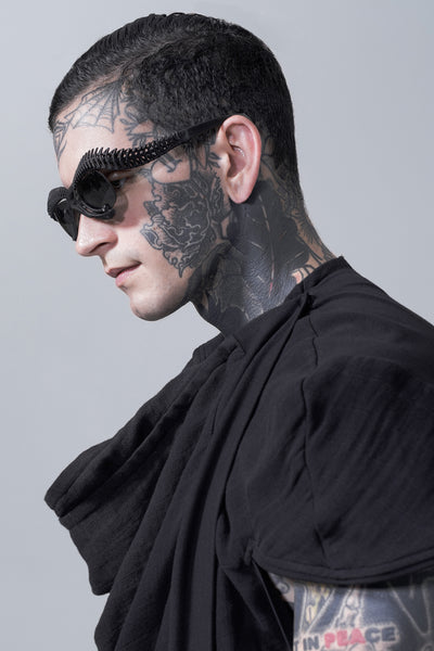 Shop Emerging Slow Fashion Avant-garde Brands Yaron Shmerkin X Vague Collaboration Black BIO 12 M Sunglasses at Erebus