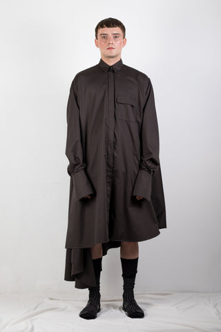Shop Emerging Slow Fashion Genderless Brand Ludus Agender Brand Requiem Collection Black Asymmetric Elongated Shirt / Dress at Erebus