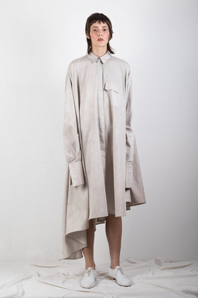 Shop Emerging Slow Fashion Genderless Brand Ludus Agender Brand Requiem Collection Naturally Dyed Asymmetric Elongated Shirt / Dress at Erebus