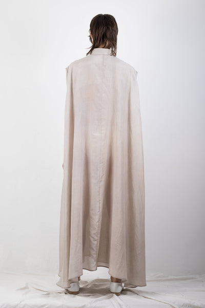 Shop Emerging Slow Fashion Genderless Brand Ludus Agender Brand Requiem Collection Naturally Dyed Silk Blend Elongated Sleeveless Shirt / Dress at Erebus