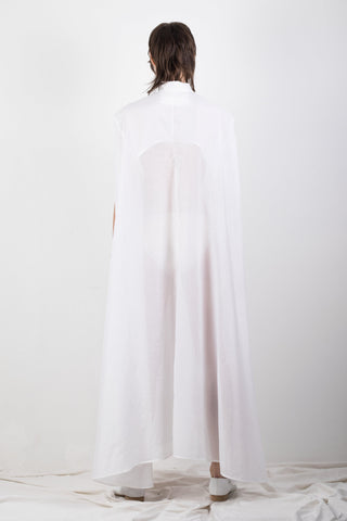 Shop Emerging Slow Fashion Genderless Brand Ludus Agender Brand Requiem Collection White Cotton Silk Blend Elongated Sleeveless Shirt / Dress at Erebus