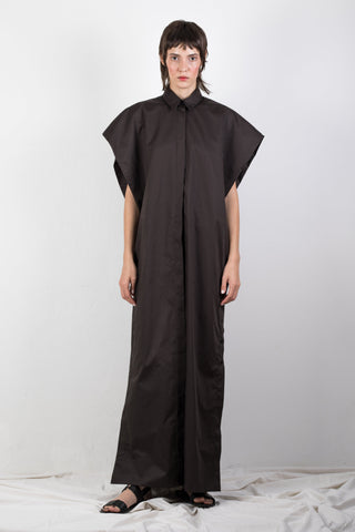 Shop Emerging Slow Fashion Genderless Brand Ludus Agender Brand Requiem Collection Black Elongated Sleeveless Shirt / Dress at Erebus