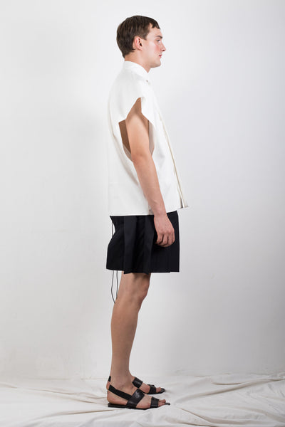 Shop Emerging Slow Fashion Genderless Brand Ludus Agender Brand Requiem Collection White Sleeveless Shirt at Erebus