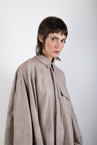Shop Emerging Slow Fashion Genderless Brand Ludus Agender Brand Requiem Collection Naturally Dyed Asymmetric Cascade Shirt at Erebus