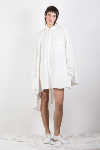 Shop Emerging Slow Fashion Genderless Brand Ludus Agender Brand Requiem Collection White Asymmetric Cascade Shirt at Erebus