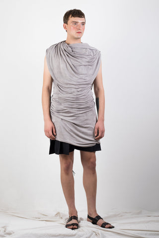 Shop Emerging Slow Fashion Genderless Brand Ludus Agender Brand Requiem Collection Naturally Dyed Jersey Draped Sleeveless Top at Erebus