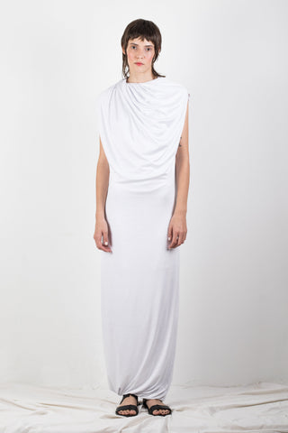Shop Emerging Slow Fashion Genderless Brand Ludus Agender Brand Requiem Collection White Jersey Draped Maxi Dress at Erebus